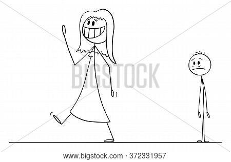 Cartoon Stick Figure Drawing Conceptual Illustration Of Happy Smiling Woman Leaving Sad Depressed Ma