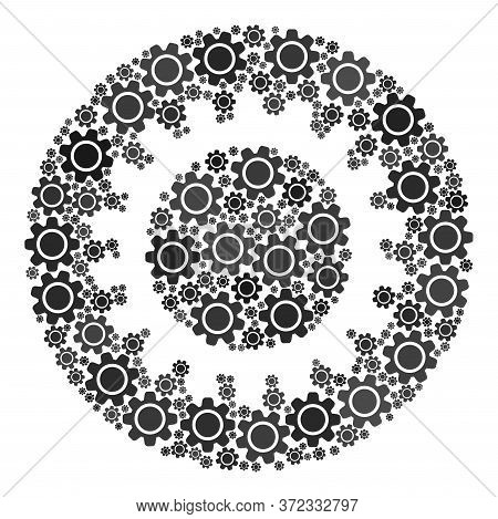 Gear Mosaic For Cog. Round Abstract Cog Mosaic Is Composed Of Scattered Gear Wheels. Engineering Ill