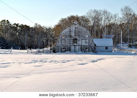 Classic New England Barn in Winter