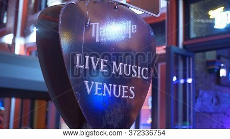 Live Music Venues At Nashville Broadway By Night - Nashville, Usa - June 17, 2019