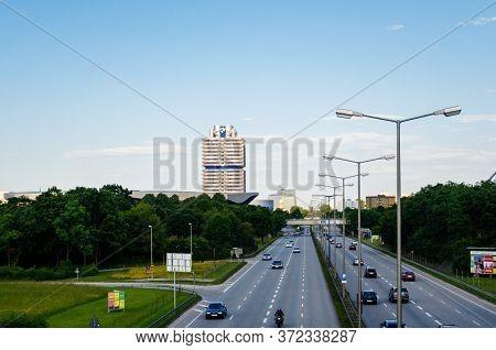 Munich, Germany - Jun 6, 2010: Aerial Overhead View Of Bmw-vierzylinder English: Bmw Four-cylinder H
