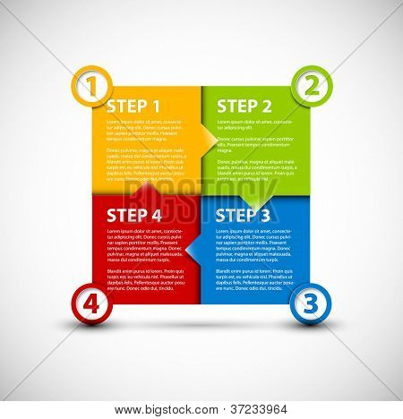One two three four - vector paper progress steps for tutorial