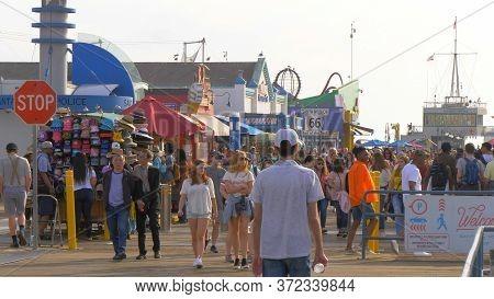 Santa Monica Pier In Los Angeles - Los Angeles, United States - March 29, 2019