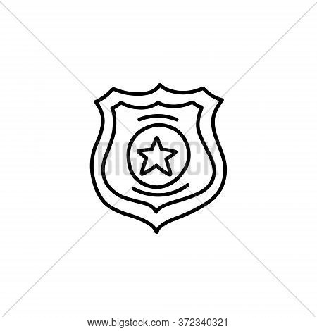 Police Badge Doodle Icon, Vector Line Illustration
