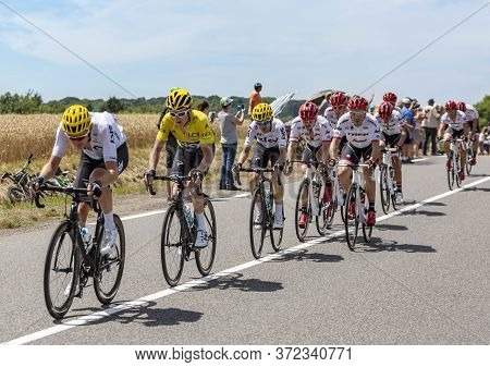 Mailleroncourt-saint-pancras, France - July 5, 2017: Geraint Thomas In Yellow Jersey, Riding In The