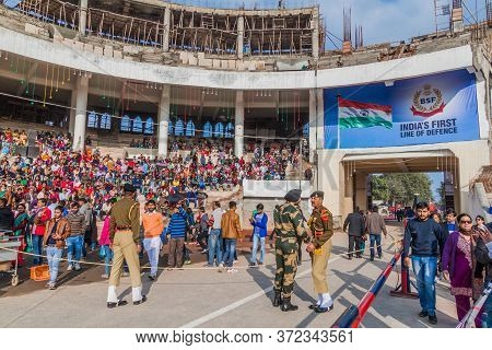 Wagah, India - January 26, 2017: People Wait For The Military Ceremony At India-pakistan Border In W