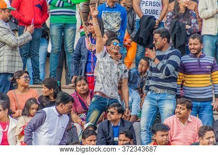 Wagah, India - January 26, 2017: Spectators Enjoy The Military Ceremony At India-pakistan Border In
