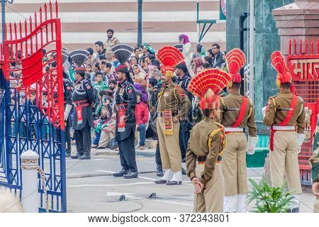 Wagah, India - January 26, 2017: Border Guards At The Military Ceremony At India-pakistan Border In