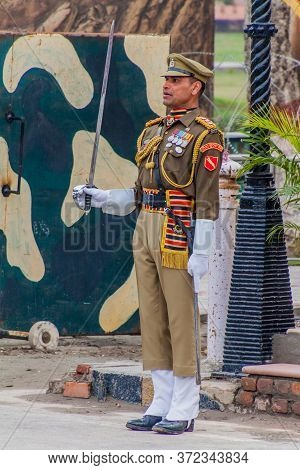 Wagah, India - January 26, 2017: Border Security Force Member At The Military Ceremony At India-paki
