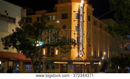 Balboa Theater At Historic Gaslamp Quarter San Diego By Night - San Diego, Usa - March 18, 2019