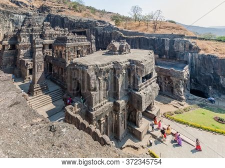 Ellora, India - February 7, 2017: Kailasa Temple In Ellora, Maharasthra State, India