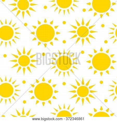Sunshine Seamless Pattern. Sun With Rays Limitless White Background With Yellow Flat Cartoon Summer