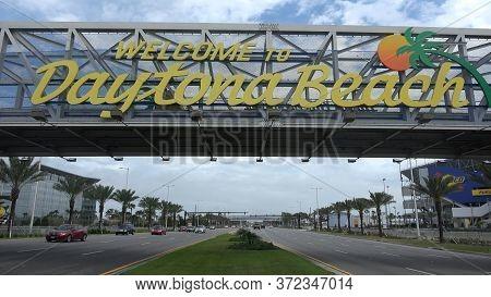 Welcome To Daytona Beach Sign On International Speedway Blvd- Daytona, Florida - April 15, 2016