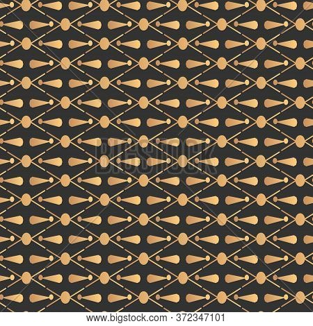 Golden Abstract Seamless Pattern. Repeat Ornament On Black Limitless Background. Gold Geometric Sign