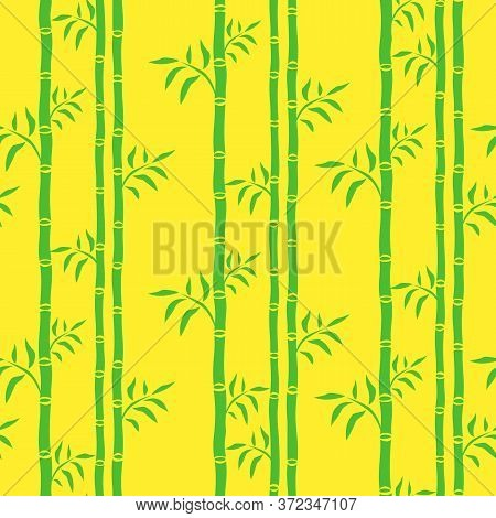 Bamboo Trees Seamless Pattern. Leaf Floral Background Bamboo Stalks. Cartoon Graphics Green And Yell