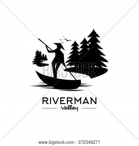 Standing Man With Straw Hat On Canoe In The River Valley Vector. Nature Life Illustration. Logo Desi