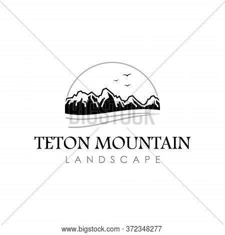 Teton Mountain Logo Illustration In Black Color Vector For Landscape Or Nature Design Template