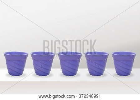 Empty Flower Pots Of Different Colour And Different Prospective, Isolated On White Background, Copy