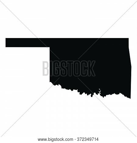 Oklahoma Ok State Maps. Black Silhouette And Outline Isolated On A White Background. Eps Vector