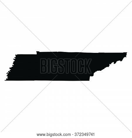 Tennessee Tn State Map Usa. Black Silhouette And Outline Isolated Maps On A White Background. Eps Ve
