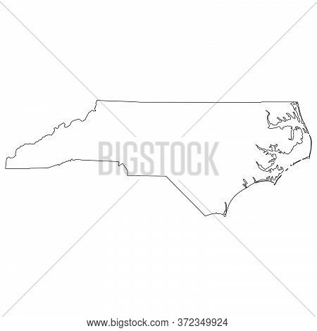 North Carolina Nc State Maps. Black Silhouette And Outline Isolated On A White Background. Eps Vecto