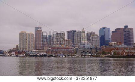 Skyline Of Boston - View From Boston Harbor