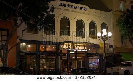 Gran Havana Cigars At Historic Gaslamp Quarter San Diego By Night - San Diego, Usa - March 18, 2019