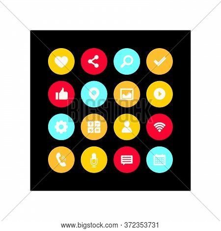 Social Media Icons Set Collection Isolation On Black Background. Social Media Icons Modern Design, I