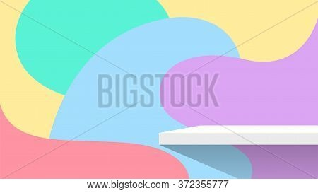 Plank Shelf White On Wall Blob Shape Pastel Color For Product Display, Background Wall Blob Shape Pa