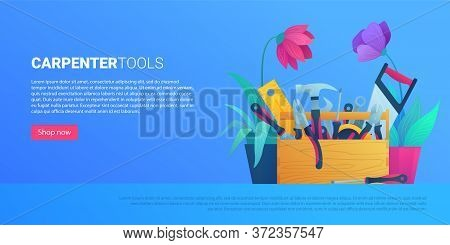 Diy Store Web Banner With Carpenter Tools. Hammer, Pliers, Handsaw, Level, Adjustable Spanner, Wrenc
