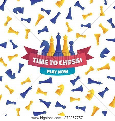 Time To Chess, Play Now Poster In Cartoon Style. Chess Club Advertising Design With Various Yellow A