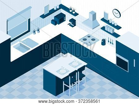 Isometric Kitchen Horizontal Composition With Monochrome View Of Room Interior With Cooking Applianc