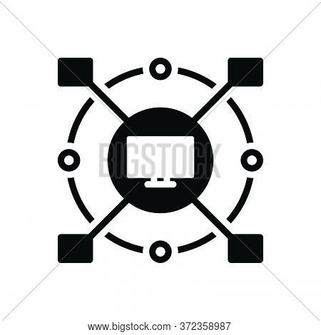 Black Solid Icon For Computerized Cyber Monitor Connect