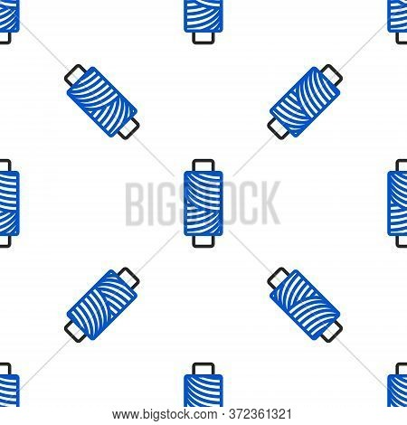 Line Sewing Thread On Spool Icon Isolated Seamless Pattern On White Background. Yarn Spool. Thread B