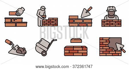 Masonry Worker Icons Set. Outline Set Of Masonry Worker Vector Icons For Web Design Isolated On Whit