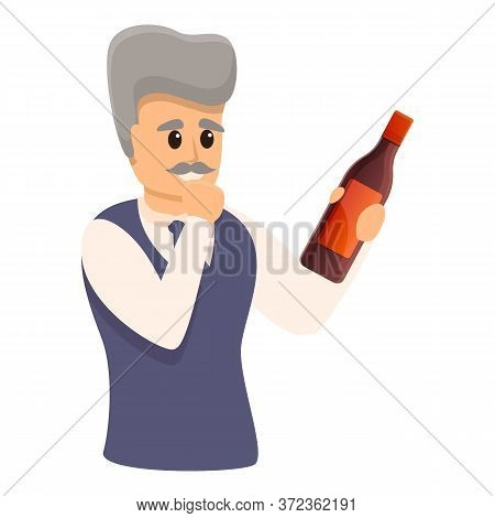 Old Sommelier Icon. Cartoon Of Old Sommelier Vector Icon For Web Design Isolated On White Background