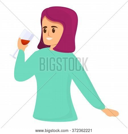 Woman Sommelier Icon. Cartoon Of Woman Sommelier Vector Icon For Web Design Isolated On White Backgr