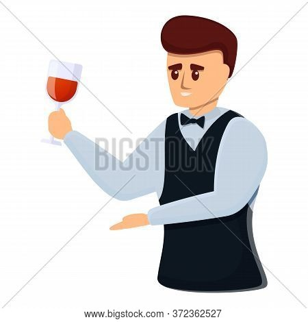 Professional Sommelier Icon. Cartoon Of Professional Sommelier Vector Icon For Web Design Isolated O