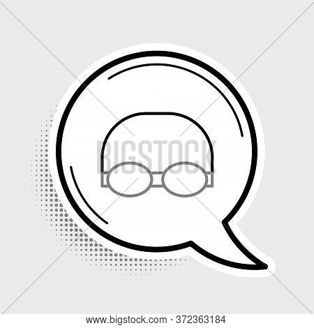 Line Glasses And Cap For Swimming Icon Isolated On Grey Background. Swimming Cap And Goggles. Diving