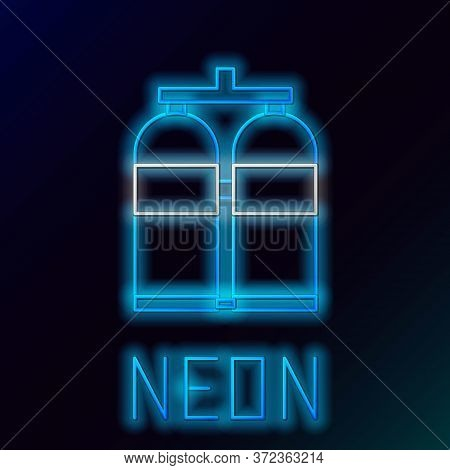 Glowing Neon Line Aqualung Icon Isolated On Black Background. Oxygen Tank For Diver. Diving Equipmen