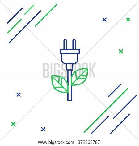Line Electric Saving Plug In Leaf Icon Isolated On White Background. Save Energy Electricity Icon. E