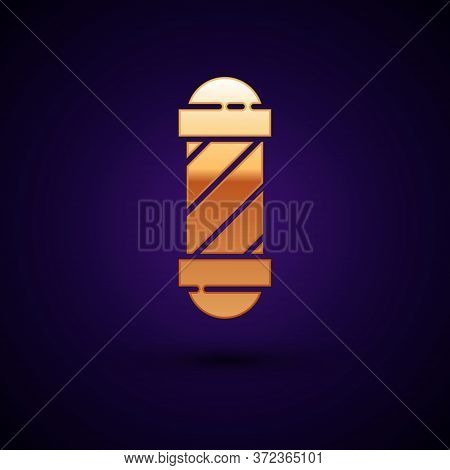 Gold Classic Barber Shop Pole Icon Isolated On Dark Blue Background. Barbershop Pole Symbol. Vector