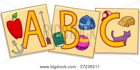 Illustration of Flashcards Featuring the Letters A, B, and C Accompanied by Images That Represent Them