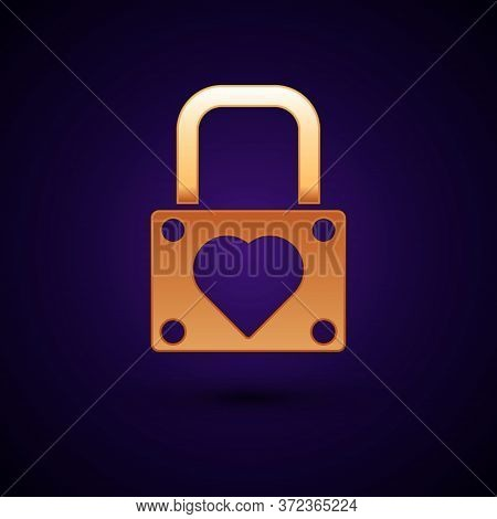 Gold Lock And Heart Icon Isolated On Dark Blue Background. Locked Heart. Love Symbol And Keyhole Sig