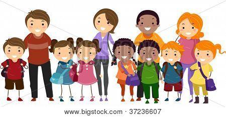 Ilustración de los niños de la escuela perfectamente alineados en una fila junto con sus padres