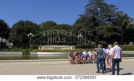 Beverly Hills Sign At Santa Monica Blvd - Los Angeles, Usa - March 18, 2019