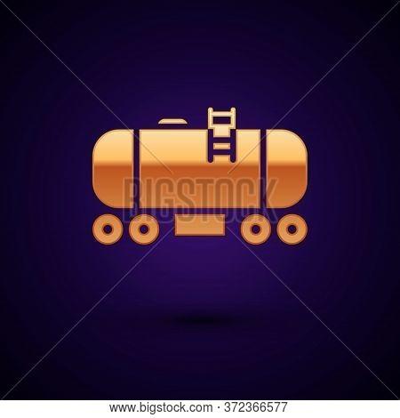 Gold Oil Railway Cistern Icon Isolated On Black Background. Train Oil Tank On Railway Car. Rail Frei