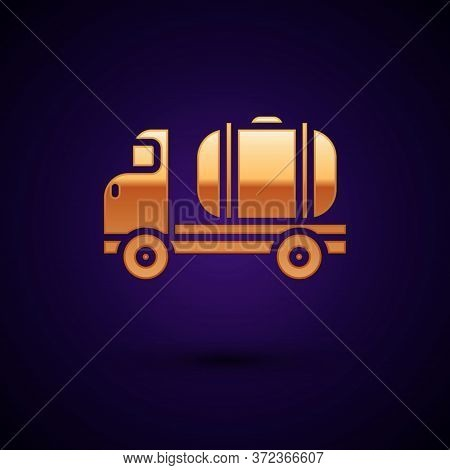 Gold Tanker Truck Icon Isolated On Black Background. Petroleum Tanker, Petrol Truck, Cistern, Oil Tr