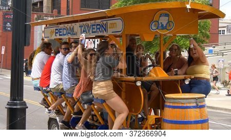 Beer Bike In The Streets Of Nashville - Nashville, Usa - June 17, 2019