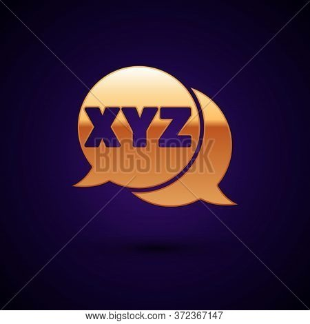 Gold Xyz Coordinate System Icon Isolated On Black Background. Xyz Axis For Graph Statistics Display.